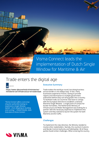 Image of a leaflet that describes how Visma Connect developed the Dutch Single window