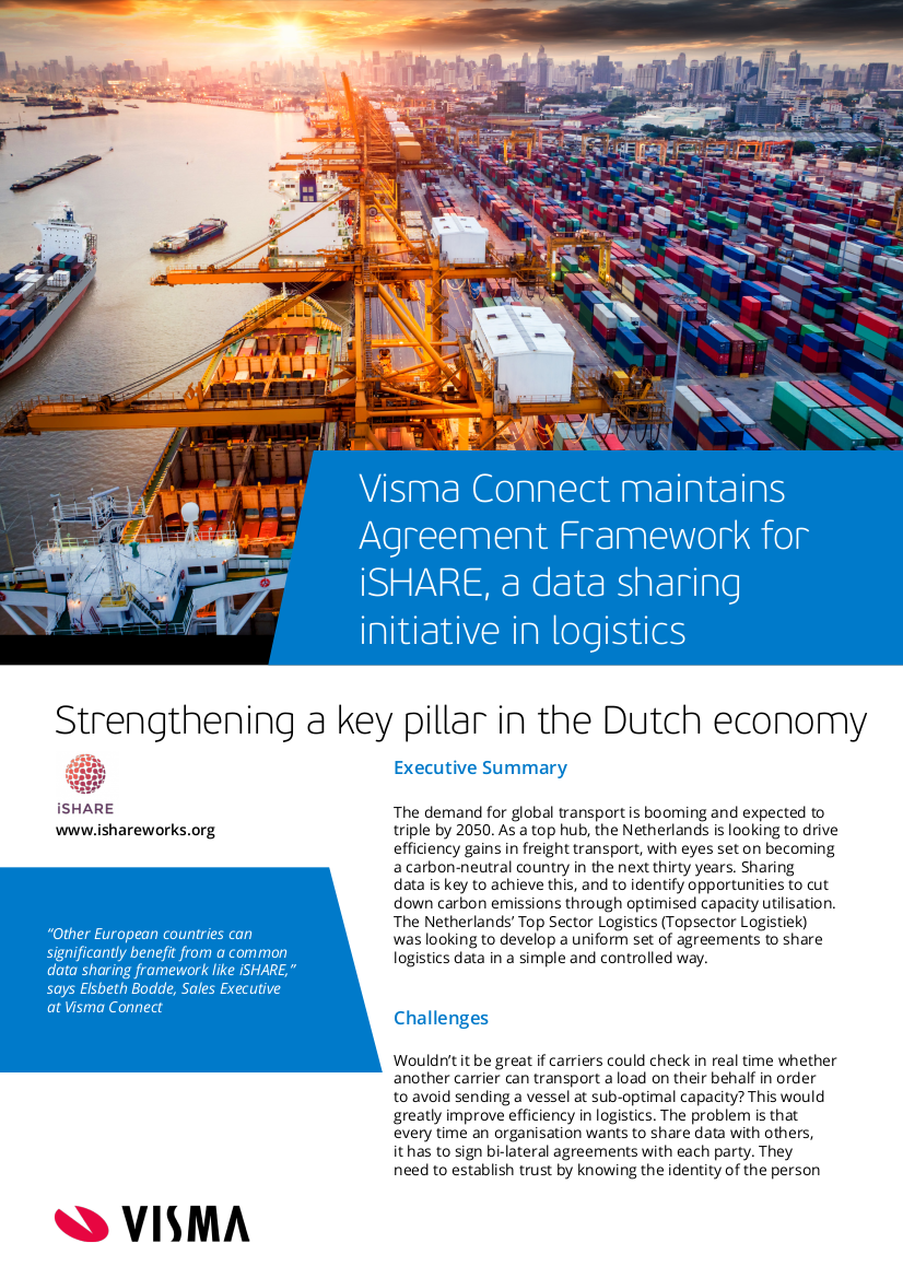 Visma Connect maintains Agreement Framework for iSHARE a data sharing initiative in logistics