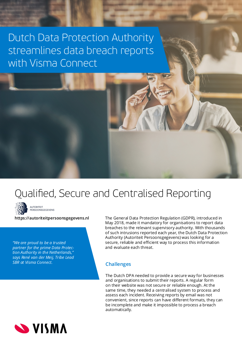 Image of the first page of a leaflet that describes how Visma Connect works for the DPA