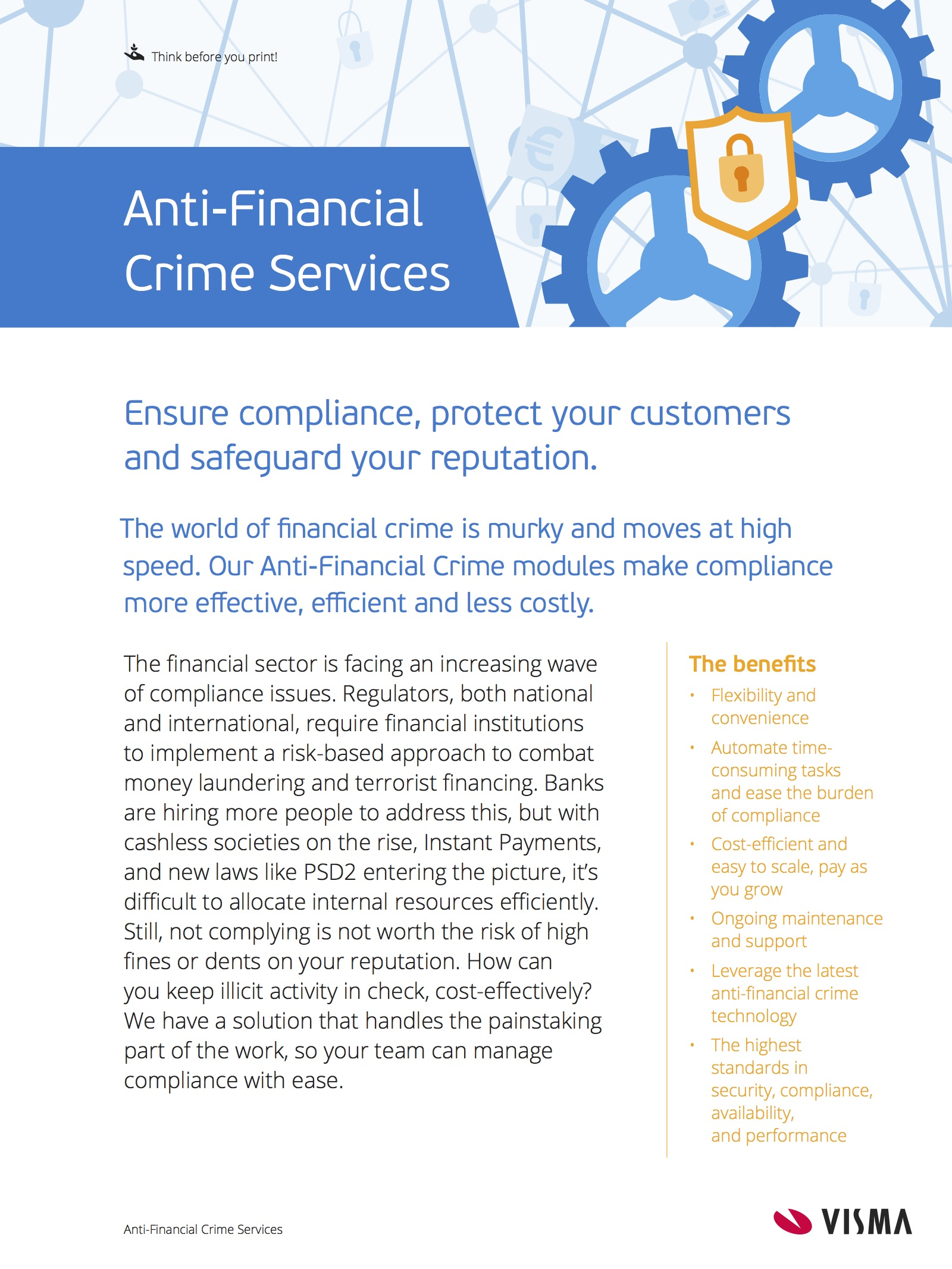 First page of our Anti-Financial Crime Factsheet